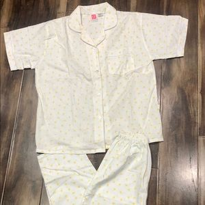 Vtg Pure Luxury White & Yellow Pajama Set Sz S